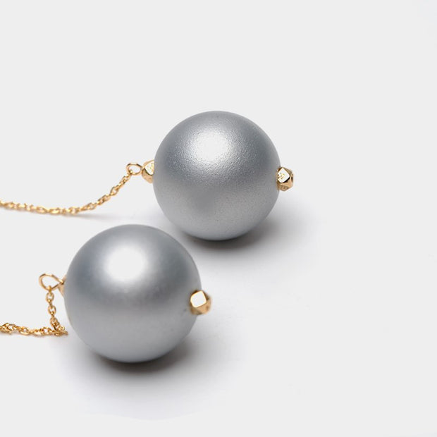 New Fashion Silver Cool Ball Pendant Minimalist Earrings