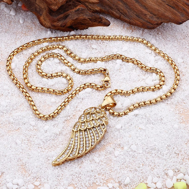 New Jewelry Angel Wings Wings CZ Pendant Necklace