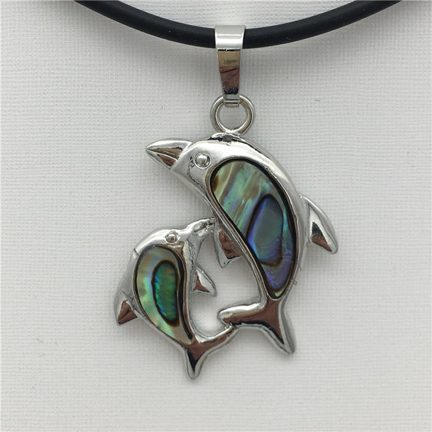 New Natural Abalone Shell Dolphins Pendant Necklace 27X42MM 18 Inches 001