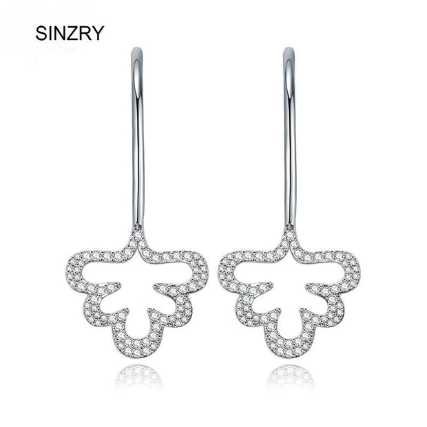 New Wholesale Fashion Korean Jewelry Brilliant Cut Cubic Zircon Hollow Tree Drop Earring For Women
