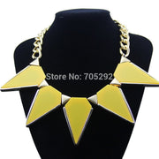 Newest Brand Acrylic Triangle Pendants Choker Statement Necklace For Women