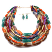 Newest Fashion Color Beads Multi Layer Necklace Women Party Jewelry Bohemian Statement Necklace African Bead Jewelry Set