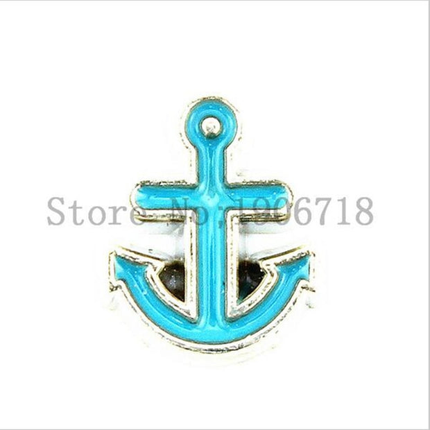 Newest Lake Blue Sailor Boat Ship Anchor Floating Charm For Living Memory Glass Lockets 30pcs/lot