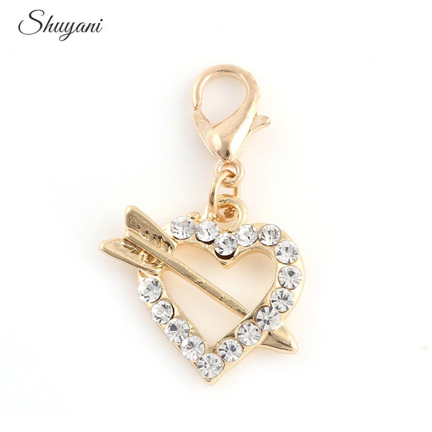 Newest Silver Gold Color Rhinestone Arrow Love Heart Charms Pendant Fit Handmade Bracelet Craft