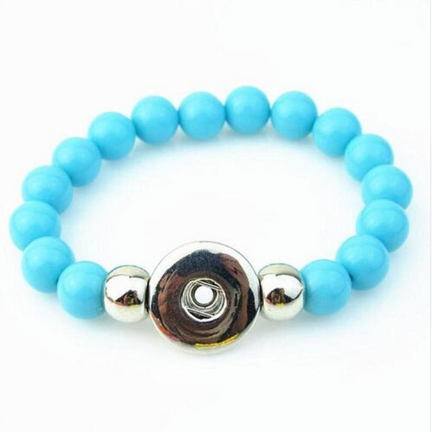 Newest Sky Blue 10mm Beads Handmade Elastic Snap Button Bracelet For 18mm Snap Button Jewelry 5pcs/lot