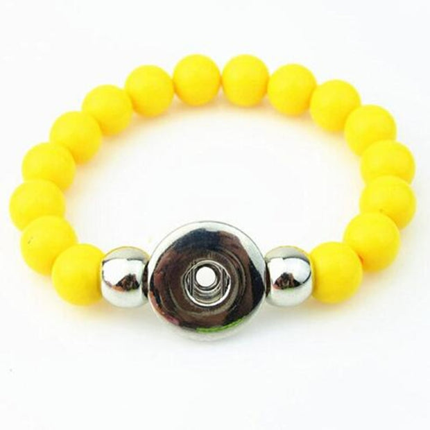 Newest Yellow 10mm Beads Handmade Elastic Snap Button Bracelet For 18mm Snap Button Jewelry 5pcs/lot