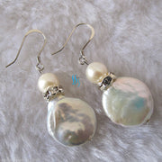Nice 7-14mm White Coin Freshwater Pearl Earrings