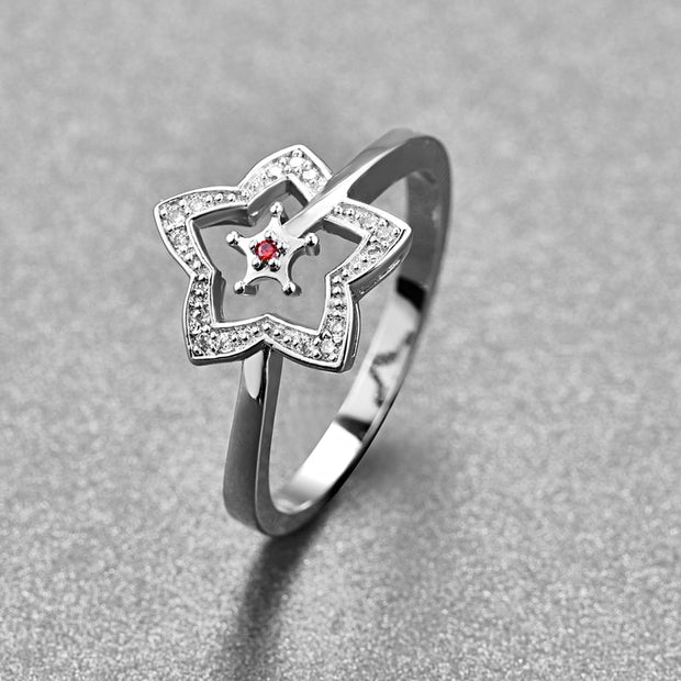 Nuncad Hollow Cut Five-Pointed Star Red CZ Stone S925 Ring New Trendy Anniversary Best Bride Girlfriend Present Rings