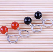 OMH Wholesale Kpop Fashion Star Jewelry Bride Woman Girl Carnelian Red Black Round 925 Sterling Silver Earrings YS121