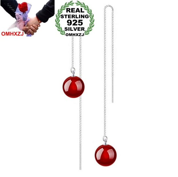 OMH Wholesale Star Fashion Woman Jewelry Black Red Round Ball Long Bohemia 925 Sterling Silver Earrings Ear Wire YS123