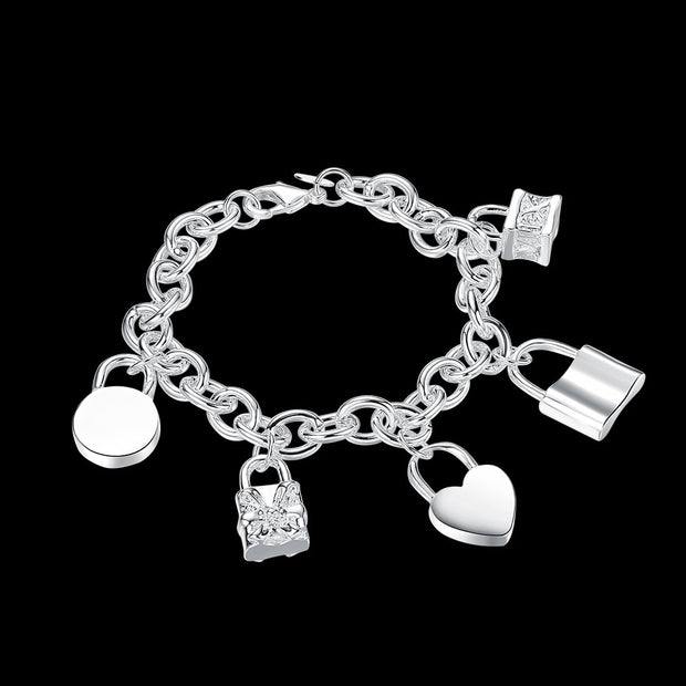 ORP Wholesale Hot Sale Latest Women Classy Design Silver Plated Lcok Bracelet Factory Direct Pop Style Heart Shape Bracelet