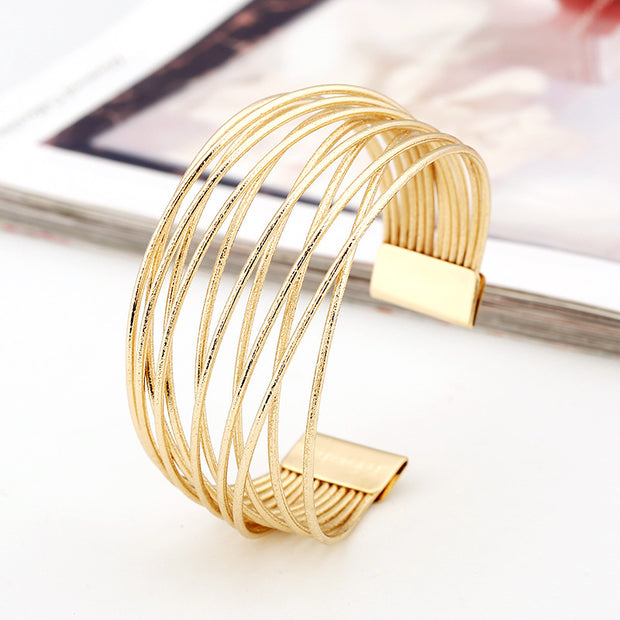 Open Multi Layer Frosted Surface Cuff Bracelet Women Vintage Jewelry Iron Fashion Retro Trend Metal Bangle