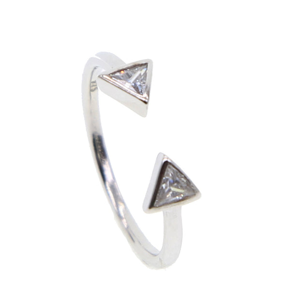Open Rings Double Triangle CZ Crystal Stone Tension Setting 925 Sterling Silver Simple Minimal Girls Women Eternity Rings 2019