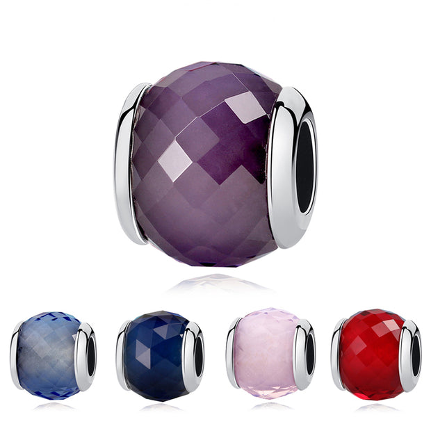 Original 100% 925 Sterling Silver Geometric Facets Colorful Fascinating Murano Glass Charms Fit Pandora Bracelets Women Jewelry