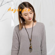 Original Retro Ethnic Style Long Sweater Chain Ancient Silver Alloy Comb Clothing Pendant Necklace Hollow Foliage Necklace