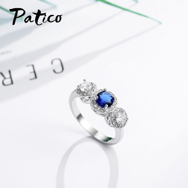 PATICO Earrings Necklace Ring Earrings Necklace 925 Sterling Silver Fashion Anel Bijoux Clear Blue Crystals Round Pendant