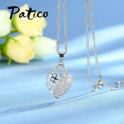 PATICO Elegant Double Design Hollow CZ Crystal Love Heart 925 Sterling Silver Jewelry Sets Pendant Necklace Earrings For Women
