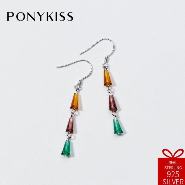 PONYKISS Trendy S925 Sterling Silver Chic Sweet Multicolor Crystal Dangle Drop Earrings Women Fine Elegant Accessory Party Gift