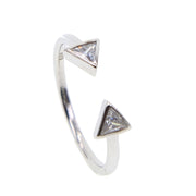 PURE 925 Sterling Silver Jewelry Wholesale Drop Shipping Double Triangle Cz Geometric Open Silver Cute Girl Ring High Quality