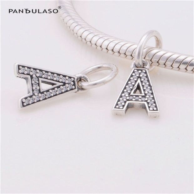 Pandulaso Letter A Pendants Crystal Beads For Jewelry Making Fit Original Charms Silver 925 Bracelets Alphabet Beads DIY Jewelry
