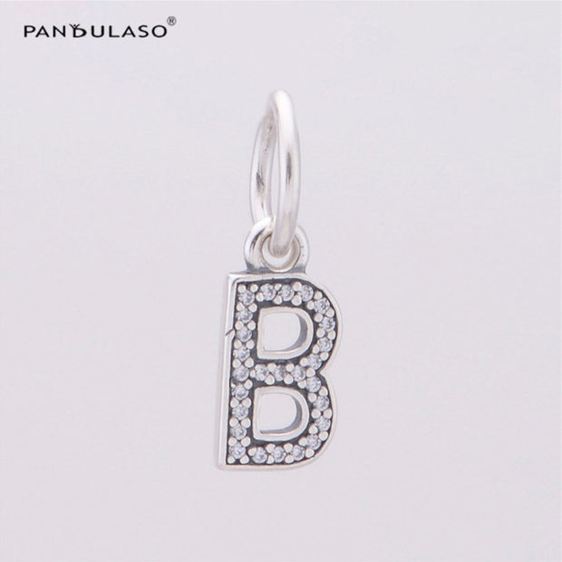 Pandulaso Letter B Pendants Crystal Beads For Jewelry Making Fit Original Charms Silver 925 Bracelets Alphabet Beads DIY Jewelry