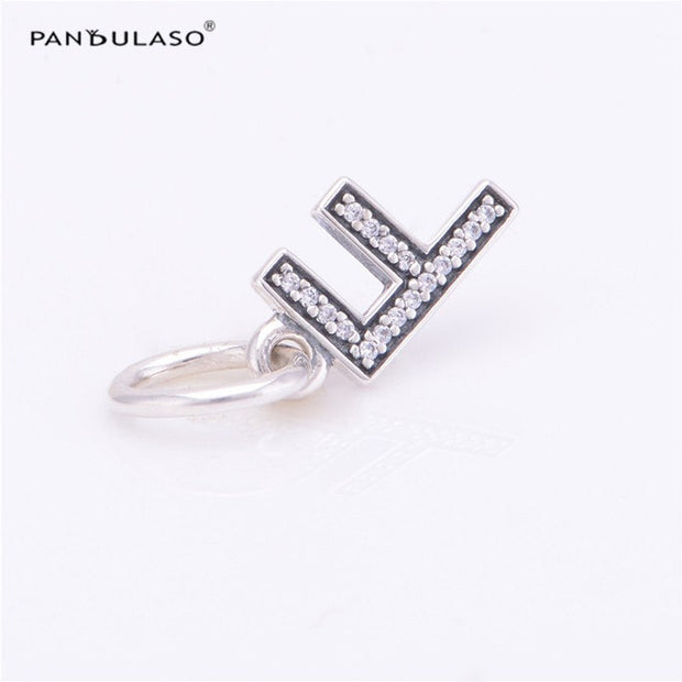 Pandulaso Letter F Pendants Crystal Beads For Jewelry Making Fit Original Charms Silver 925 Bracelets Alphabet Beads DIY Jewelry