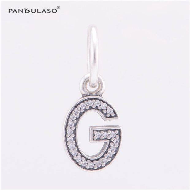 Pandulaso Letter G Pendants Crystal Beads For Jewelry Making Fit Original Charms Silver 925 Bracelets Alphabet Beads DIY Jewelry