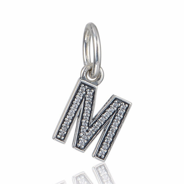Pandulaso Letter M Pendants Crystal Beads For Jewelry Making Fit Original Charms Silver 925 Bracelets Alphabet Beads DIY Jewelry