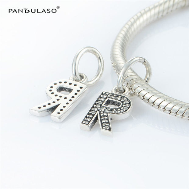 Pandulaso Letter R Pendants Crystal Beads For Jewelry Making Fit Original Charms Silver 925 Bracelets Alphabet Beads DIY Jewelry
