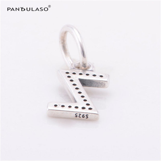 Pandulaso Letter Z Pendants Crystal Beads For Jewelry Making Fit Original Charms Silver 925 Bracelets Alphabet Beads DIY Jewelry