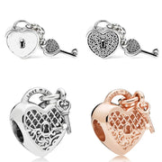 Pave Love Heart Lock & Key Rose Love You Lock Pendant Charm Fit Pandora Bracelet 925 Sterling Silver Bead Diy Jewelry