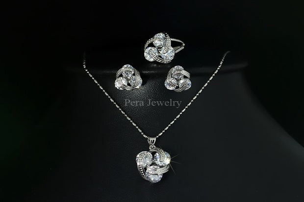 Pera Fashion 3 Pcs Geometric Dangling Drop Pendant Necklace Sets For Women Big Cubic Zirconia Stone Silver Color Jewelry J077