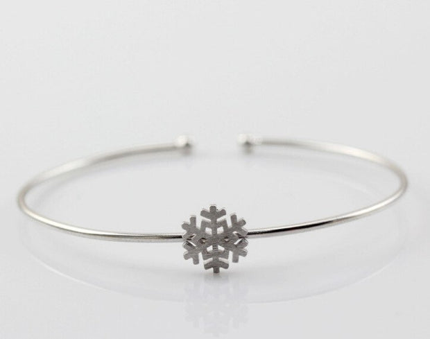 Personality New Art 925 Sterling Silver Jewelry Female Simple Bar Snow High-quality Popular Open Bracelet