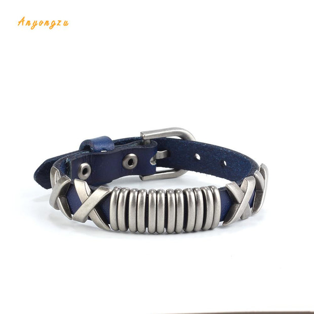 Personality Retro Leather Buckle Bracelet Alloy Circle Couple Bracelet Gift Jewelry Solid Color Woven Bracelet