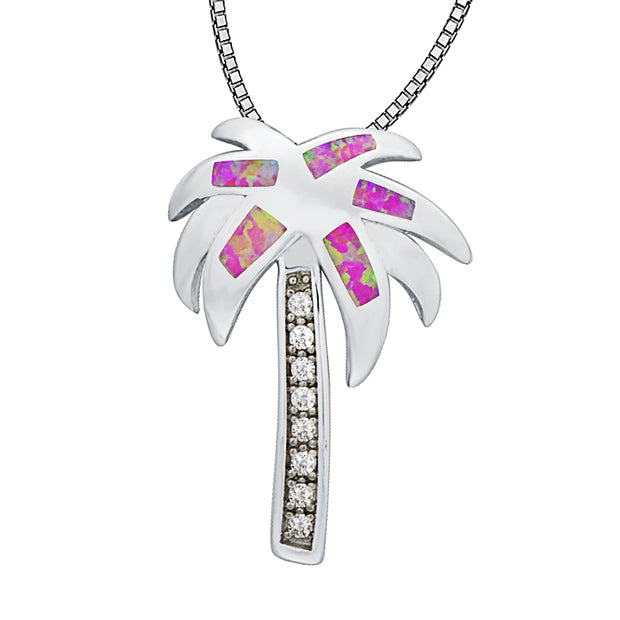 Pink Palm Tree Fire Opal Stone Sterling Sliver Pendants For Women PJ16011718