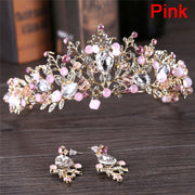 Pink White Pearl Crowns Hair Accessories Luxury Bridal Diadem Handmade Tiara Bride Wedding Headband Crystal Wedding Queen Crown