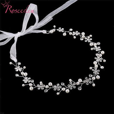Plant Shape Flower Crystal Pearl Wedding Headpiece Hair Accessories Jewelry Handmade Sliver Bride Hair Vine Headband RE3194