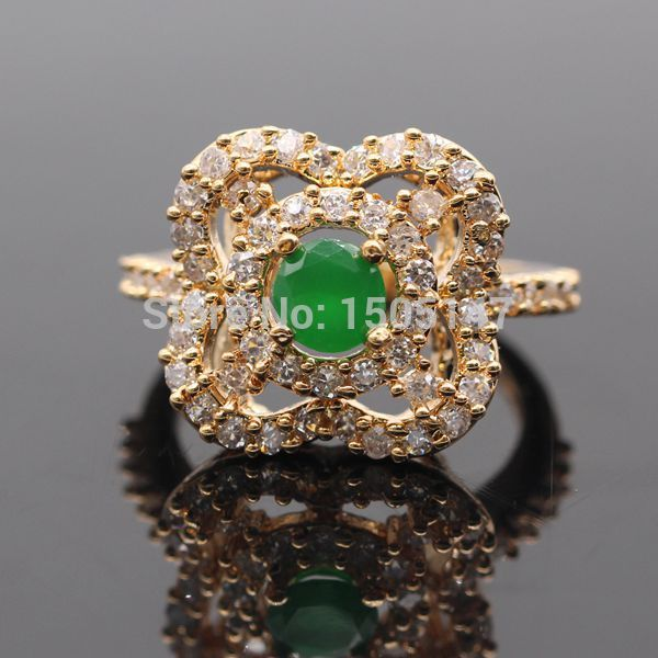 Pretty Hollow Out Natural Gem Red & Green Zircon AAA CZ Gold Color Square Ring R143