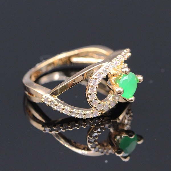 Pretty Unique Design Natural Red & Green Zircon Gem Crystal Gold Filled Ring 2colors