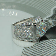 Proposal Engagement Wedding Men Ring 5 Carats Group Mosaic AAA+ Premium CZ Crystals Silver Circle Couples Rings