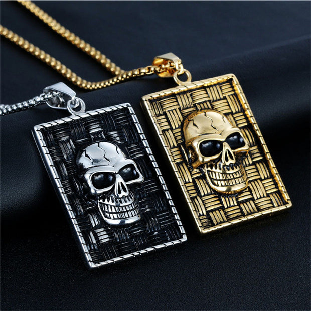 Punk Skull Warrior Pendant Necklaces Stainless Steel Hyperbole Skeleton Head Pendants Creative Necklace Men Jewelry Gift