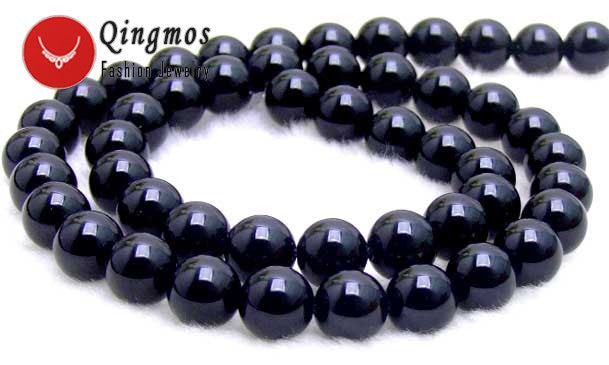 "Qingmos 16mm Round Natural Black Agates Loose Beads For Jewelry Making DIY Necklace Bracelet 15"" Gem Stone Strands Los213"