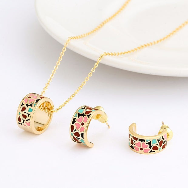 R&X Fashion Romantic Necklace/earrings Girls Sieraden Bridesmaid Dubai Stainless Steel Enamel African Beads Jewelry Sets Party