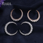 RAKOL Elegant Classic Moon Shape Pave CZ Zirconia Micro Lnlay Wedding Stud Earrings For Womren Round Hollow Crystal Jewelry