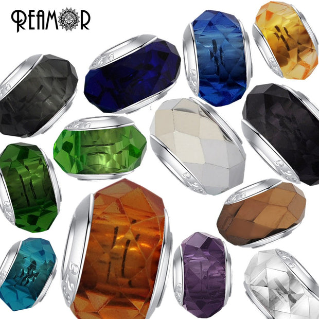 REAMOR 5pcs Lampwork Colorful Glass Faceted Beads European Large Hole Beads Charms For Women Bracelet Jewelry Making DIY