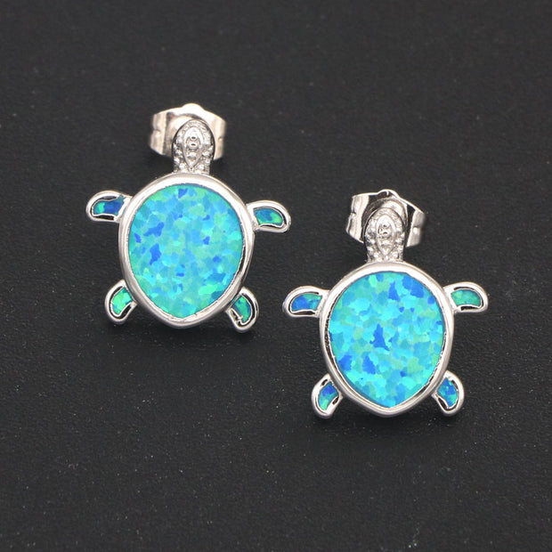 RH0110 New Cute Turtle Stud Earrings Women Blue Opal Turltle Stud Earrings Animal Accessories Women's Fashion Jewelry