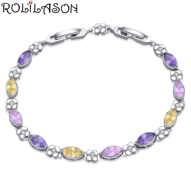 ROLILASON Color 925 Silver Crystal Zircon Bracelet Beautiful Fashion Jewelry For Women Exclusive Tb1165