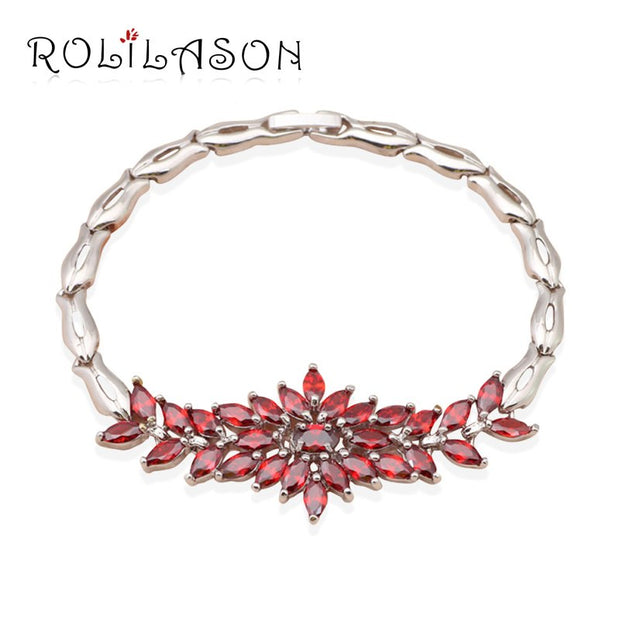 ROLILASON Fancy Design Violet Purple Zircon Silver Filled Overlay Link Chain Bracelets Gift For Women TB517