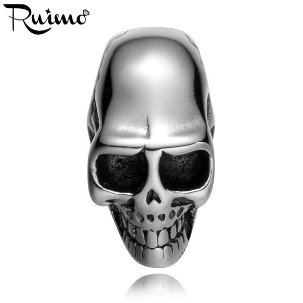 RUIMO 5mm Skull Head Bead 316l Stainless Steel Skeleton European Charm Spacer Bead For DIY Jewelry Making Bracelet Accessories