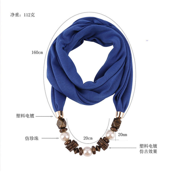 RUNMEIFA Pendants Necklaces Pearl Jewelry Scarf Woman/Ladies New Fashion Solid Vintage Pattern Female Accessories 170*40CM